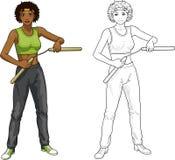 African American Nunchuck girl in sport uniform Stock Photography