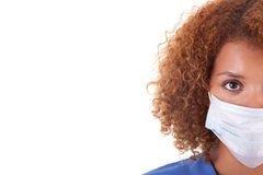 African American nurse holding a mask - Black people Stock Photos