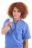African American nurse holding a stethoscope  -  Black people. African American nurse holding a stethoscope, isolated on white background - Black people Stock Images