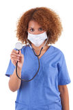 African American nurse holding a stethoscope  -  Black people Stock Photography
