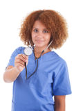 African American nurse holding a stethoscope  -  Black people. African American nurse holding a stethoscope, isolated on white background - Black people Royalty Free Stock Photo
