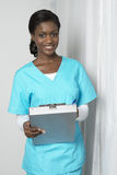 african american nurse pills 免版税图库摄影