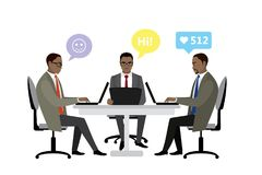 African american Office workers or business people sitting at th. E table.Social network chatting. Working On laptop .Teamwork. Cartoon vector illustration Royalty Free Stock Images