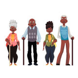 African American old men and woman. Cartoon style vector illustration  on white background. Set of full length male and female portraits of black senior Royalty Free Stock Photos