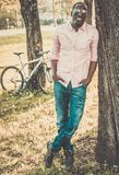 African american in a park Royalty Free Stock Image