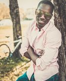 African american in a park Royalty Free Stock Photo