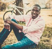 African american in a park Royalty Free Stock Photos
