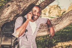 African american in a park Royalty Free Stock Images
