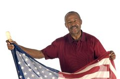 African American Patriot with flag Royalty Free Stock Photos
