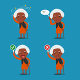 African american people, Old lady. Grandma in 4 Different Poses. Vector isolated illustration. Cartoon character Royalty Free Stock Images