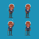 African american people, Old man. Grandpa in 4 Different Poses. Vector isolated illustration. Cartoon character Royalty Free Stock Images