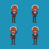 African american people, Old man. Grandpa in 4 Different Poses. Vector isolated illustration. Cartoon character Stock Images