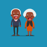 African american people - Retired elderly senior age couple in c. Reative flat  character design | Grandpa and grandma standing full length smiling Stock Photos