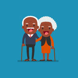 African american people - Retired elderly senior age. African american people - Retired elderly senior age couple in creative flat  character design | Grandpa Royalty Free Stock Photo