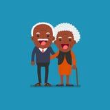 African american people - Retired elderly senior age couple. African american people - Retired elderly senior age couple in creative flat  character design | Royalty Free Stock Photo
