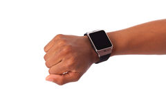 African American person wearing a smart watch, isolated on white Stock Image