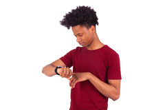 African American person wearing a smart watch, isolated on white Stock Photography