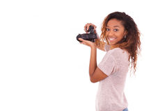 African American photographer taking pictures with a dslr camera Stock Image