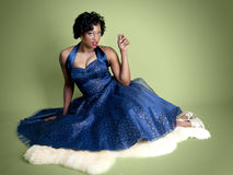 African American Pinup Model Stock Photo