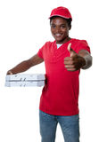 African american pizza delivery guy showing thumb stock photos