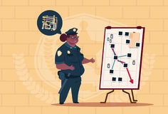 African American Police Woman Planning Action On White Board Wearing Uniform Female Guard On Blue Bricks Background Stock Photos