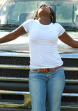 African american Portrait. Female african american standing outdoors for a portrait stock images
