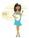 African-american pregnant woman cooking royalty free illustration