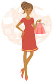 African American pregnant woman royalty free illustration