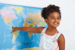 African american preschool girl. In classroom with world map Royalty Free Stock Photos