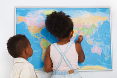 African american preschoolers. In classroom with world map Royalty Free Stock Images