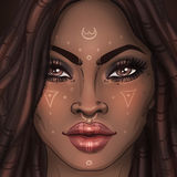 African American pretty girl. Raster Illustration of Black Woman Royalty Free Stock Image