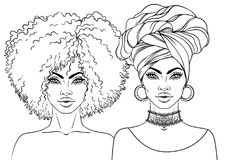 African American pretty girl. Vector Illustration of Black Woman. With afro hairstyle and turban. Great for avatars. Illustration isolated on white. Coloring royalty free illustration