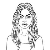 African American pretty girl. Vector Illustration of Black Woman Stock Photo