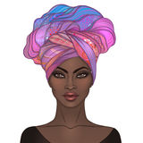 African American pretty girl. Vector Illustration of Black Woman. With glossy lips and turban. Great for avatars. Illustration isolated on white vector illustration