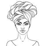 African American pretty girl. Vector Illustration of Black Woman. With glossy lips and turban. Great for avatars. Illustration isolated on white. Coloring book vector illustration