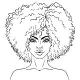 African American pretty girl. Vector Illustration of Black Woman Royalty Free Stock Photo