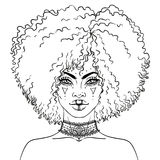 African American pretty girl. Vector Illustration of Black Woman Royalty Free Stock Image