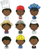 African-American professional people avatars. Collection of cute various African-American professional people avatars Stock Images