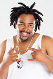 African american rapper. Overweight african american rapper with bling bling Royalty Free Stock Photos