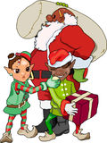 African American Santa and Elves. Am African American version of Santa preps for take-off as his elves frolick and play stock illustration