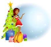 African American Santa Xmas Helper. An illustration featuring an african american woman wearing a festive little red dress standing in front of trees and gifts Stock Images