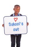African American school boy holding a blank board - Black people Stock Image