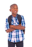 African American school boy looking up - Black people Royalty Free Stock Photos