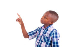 African American school boy looking up - Black people Stock Image