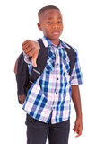 African American school boy making thumbs down - Black people Royalty Free Stock Image