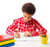 African American school boy taking test Stock Photos