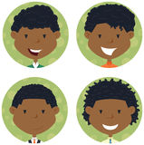 African american school boys avatar collection Royalty Free Stock Photos
