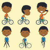 African American school boys on the bikes Stock Photos