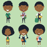 African american school boys and girls standing with books and b. Ackpacks. Vector collection of kids characters. Cute pupils set Royalty Free Stock Photo