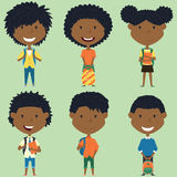 African american school boys and girls standing with books and b. Ackpacks. Vector collection of kids characters. Cute pupils set Royalty Free Stock Photos